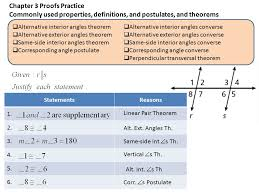 Same Side Interior Angles Definition Geometry Chapters 2 U2013 4 Proofs Practice Chapter 2 Proofs Practice Commonly