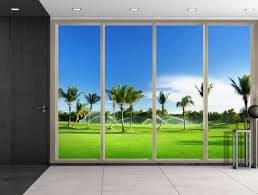 wall26 com art prints framed art canvas prints greeting wall26 large wall mural tropical scenery with palm trees seen through sliding glass doors 3d visual effect self adhesive vinyl wallpaper removable