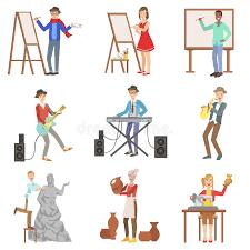 imagenes artisticas ejemplos gente con las profesiones artísticas fijadas de ejemplos ilustración