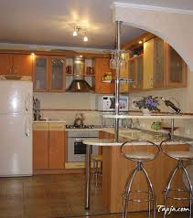 interesting small kitchen with bar design with glass window corner