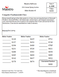 Bid Sheets For Silent Auction Template Bid Sheets