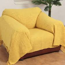 Yellow Throws For Sofas by Homescapes Yellow Ochre Large Size Nirvana Pure Cotton Textured