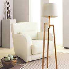 modern tall wood floor lamps for living room solid wooden tripod