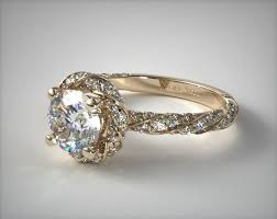 engagement rings yellow gold twisted pave halo engagement ring 14k yellow gold 17037y14