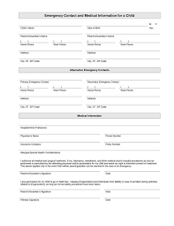 printable emergency contact form template random pinterest