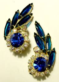 royal blue earrings eye catching royal blue ab and navette rhinestone earrings