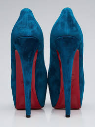 christian louboutin teal suede daffodile 160 pumps size 8 5 39