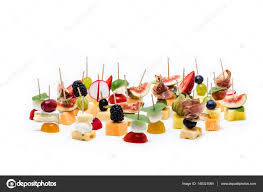 canapes fruit healthy fruit and cheese canapes stock photo eriktomasak