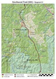 Ouachita Mountains Map Southwest Trail Route