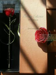 Rose Dipped In Gold Giftbox 12inch Length Real Rose Dipped In 24k Gold For For Sale