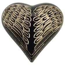 heart urn angel wings black gold heart keepsake urn