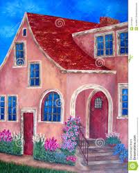 Painting House by Painting Of House With Blue Windows And Flowers Stock Images
