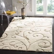 safavieh florida shag scrollwork elegance cream beige rug 5 u00273 x