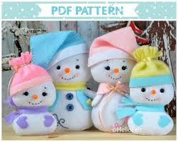 pdf pattern snowman and family felt doll snowman