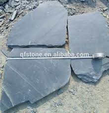cheap irregular random shape black slate flooring tile outside