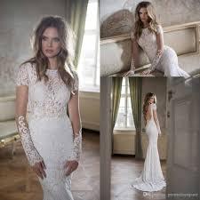 elegant lace wedding dresses mermaid 2016 berta bateau neck short