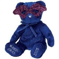 blue mardi gras ty mardi gras beanie baby babies plush stuffed blue with