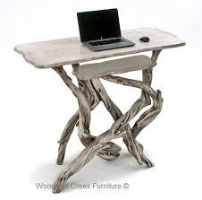 Natural Wood Computer Desk Natural Wood Stand Up Desk Organic Driftwood Gray Wash