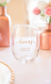 small personalized stemless wine glass favors wine and glass