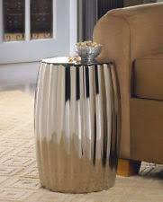 Ceramic Side Table Ceramic Silver Accent Decorative Stool Side Table Display Stand