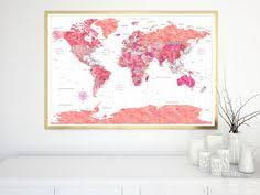 world map of capital cities reserved listing for megan highly detailed watercolor world map