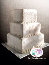 three tier square fondant vintage edible lace wedding