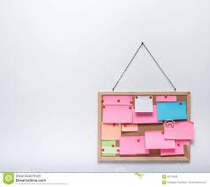 sticky notes on hanging cork bulletin stock illustration image