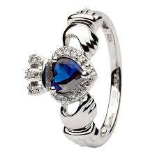 claddagh ring white gold claddagh ring set with sapphire and diamond