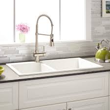 White Granite Kitchen Sink 34 Sabelle 60 40 Offset Bowl Drop In Granite Composite