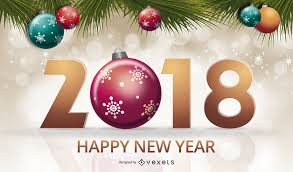 2018 new year sign with ornaments vector