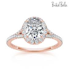 gold oval engagement rings 14k gold 2cttw oval shaped halo diamond engagement ring