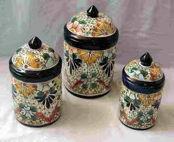 pottery kitchen canister sets talavera 3 canister set mexican connexion for talavera