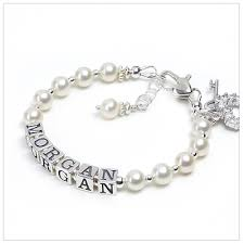 infant name bracelet pearls silver baby bracelets in white cultured pearls baby and