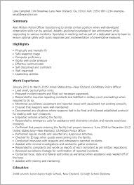 Military Veteran Resume Examples by Professional Military Police Officer Templates To Showcase Your