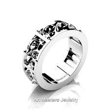 mens skull wedding rings mens modern 14k white gold skull channel cluster wedding ring r455
