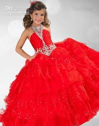 Halloween Costume Kids Girls 2015 Cute Red Multi Layered Party Ball Gowns Halter