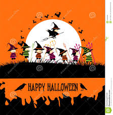 happy halloween party with kids stock vector image 44582281
