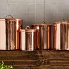 copper canister set kitchen koppel 4 kitchen canister set reviews birch