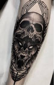 Forearm Wolf - wolf and skull on forearm