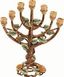 menorah tree of 24k gold plated 7 branch tree of menorah brown and emerald