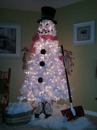 White Christmas Tree Decorated White Christmas Tree Snowman Diy Cozy Home