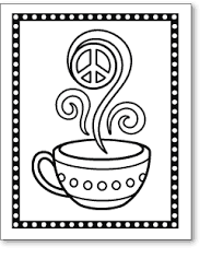 Peace Sign Coloring Pages Cup Coloring Page