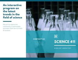 blue and white simple modern science trifold brochure templates