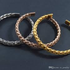 fashion braided bracelet images Unisex gold fashion braided cable adjustable cuff bracelet popular jpg