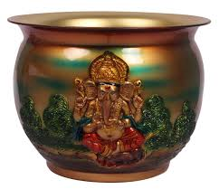 wholesale home decor items planter pot with lord ganesha motif u2013 handmade in brass