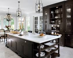 White Kitchen Dark Island White Island With Open Shelves Brown Bar Stools White Kitchen