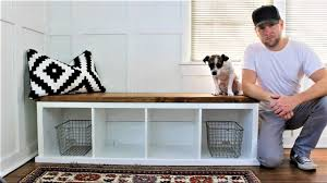 ikea bench with storage ikea hack the shiplap style storage bench youtube