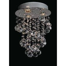 Silver Chandelier by Starfire Crystal String Lighting Collection 3 Light Flush Mount
