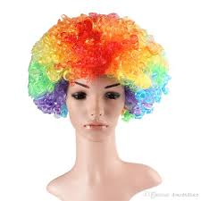 halloween football costumes party wigs afro clown hair child costume football fan wig
