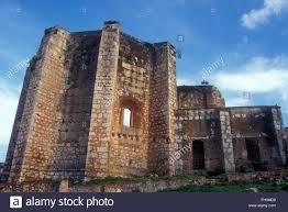 monastery ruins in san francisco park oviedo spain stock photo